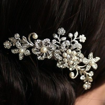 Silver vintage Style Hair comb wedding Bridal party Hair Accessories wedding 4