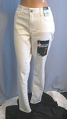 Jordache New Mid Rise Skinny White Stretch Jeans Cool & Soft Size 12 Nwt