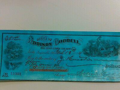 Addison & Goodell NATIONAL BANK OF NORTH AMERICA,REVENUE STAMP,1884,CHECK $51