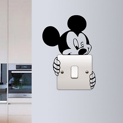 Mickey Mouse Wall Sticker Switch Vinyl Decal Funny Lightswitch Kids Room DIY