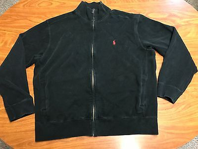 Mens Vintage Polo Ralph Lauren Black Red Pony Full Zip Sweater Jacket Size Large