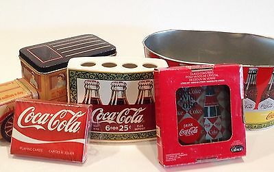 Coca Cola Lot Glass Coasters Toothbrush Holder Cards Tins