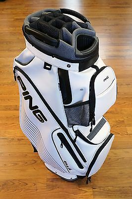 PING Golf DLX II 14 Way Top PGA Tour Leather Style Cart Bag w/ Hood White - NEW
