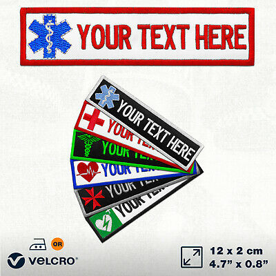 Custom Paramedic Patch Embroidered TEXT NAME Badge First Medic Ambulance CROSS