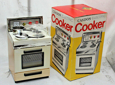 boxed CASDON retro vintage toy COOKER  toddlers playgroup 1970's dolls size