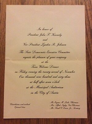1963 Texas Welcome Dinner President John F. Kennedy Invitation Assassination