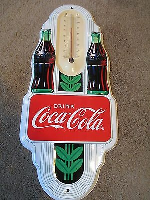 COCA COLA 2009 DOUBLE BOTTLE TIN THERMOMETER Advertising SIGN MINT COKE