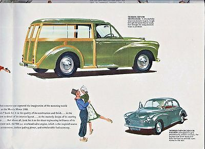 1959 fold-out SALES BROCHURE for the MORRIS MINOR 1000 ~ CAN BE USED AS A POSTER
