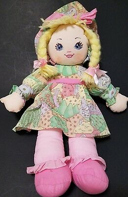 Sweetie Mine Vintage Rag Cloth Doll Well Made 1995 Blond Hair Pink Green Dress