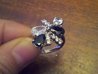 vintage silvertone ring  black clear cubic zirconia cocktail size 6 jewelry