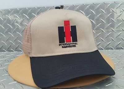 International Harvester Ih Tan & Black Mesh Embroidered Trucker Logo Hat Cap New