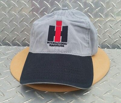 International Harvester Ih Gray & Black Embroidered Trucker Logo Hat Cap New!