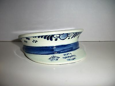 Vintage Blue Delft Hand Painted Holland Soldiers Hat~Pin Tray~Trinket Box