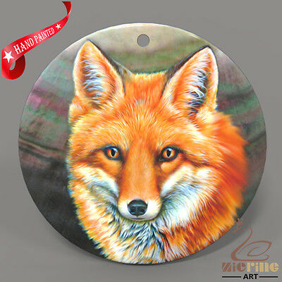 Hand Painted Fox Shell Jewelry Necklace Pendant ZP30 02071