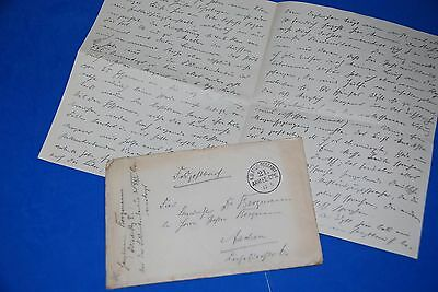1918 World War, German Captain Field Post Vintage old Letter WWI, Antique L82