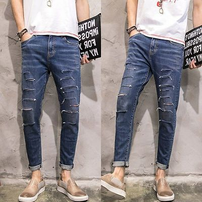 Men Ankle Length Distressed Stretch Blue Denim Pants Cropped Tapered Leg Jeans