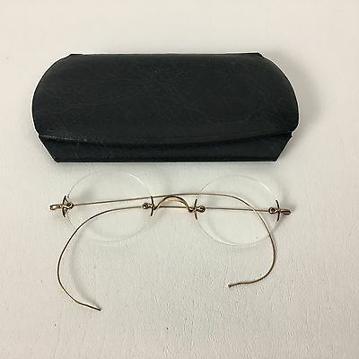 Antique Imperial Gold Filled Spectacles Rimless Lenses Original Case