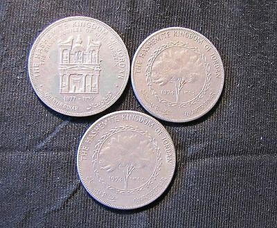 Lot of 3 Jordan Hashemite Kingdom 1/4 Dinar Coins - 1974, 1977