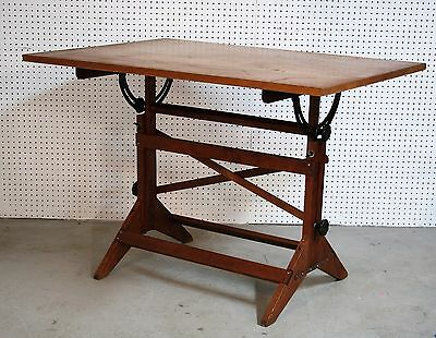 antique 1940's POST DRAFTING TABLE maple tabletop SOLID OAK cast iron HARDWARE