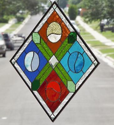 "• PLAY BALL •Stained Glass Window Panel • 16 ¼""X16 ¼"" (41.5 CM)"