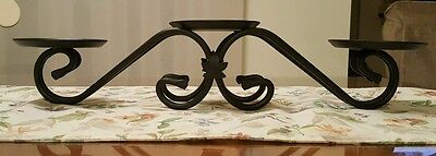 LONGABERGER Black Wrought Iron Triple Pillar Candle Crock Or Basket Holder