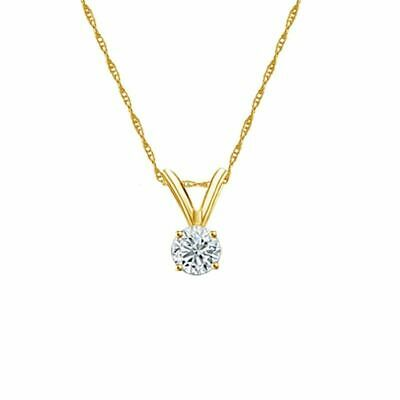 14K Yellow Gold 4-Prong Round-Cut Diamond Solitaire Pendant 1/6ct H-I I2 w/Chain