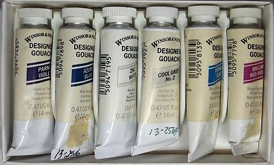 WINSOR & NEWTON Artist Paint-6 Tubes 14ml of Designers Gouche, Different Colors
