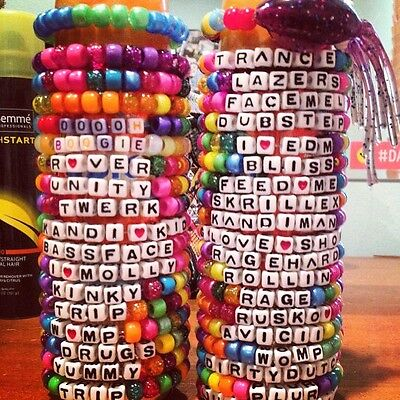 50 Kandi Bracelets. Custom. You Choose Color And Phrase. Rave Kandi plur life