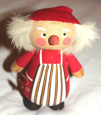 Vintage Sweden/Swedish Wooden Santa Elf/Gnome w Articluated Arms & Flower