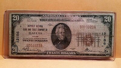 1929 Dallas Texas Tx #12186 National Currency - Republic National B&t Company