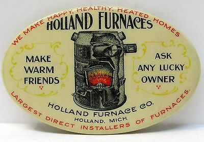 c. 1910 HOLLAND FURNACES Holland MICHIGAN colorful  celluloid pocket mirror *