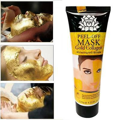24K Gold Collagen Blackhead Mask Deep Cleansing Pore Face Peel Off Mask 120ml UK
