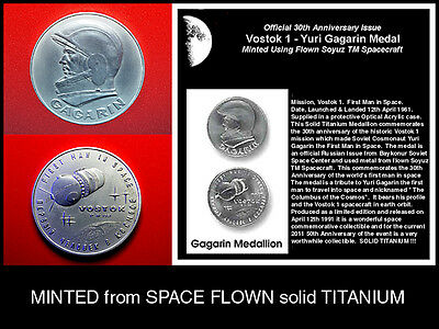 100% Space Flown Vostok 1 / Gagarin Titanium Medallion / 1991 GEM BU + Coin Case