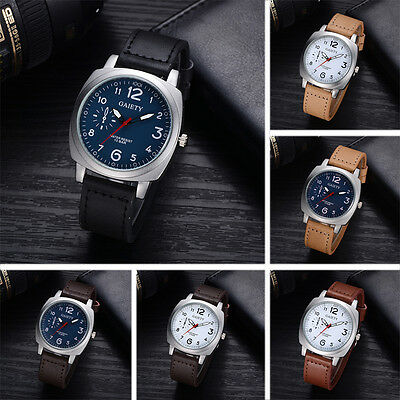 Military Mens Business Leather Analog Quartz Wrist Watch Stainless Steel Watches