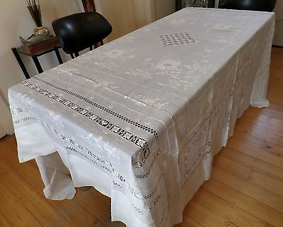 Vintage Fine Linen Tablecloth, Extensively Handworked. Large. Some flaws.