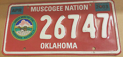 2003 Oklahoma 26747 Muscogee Nation License Plate