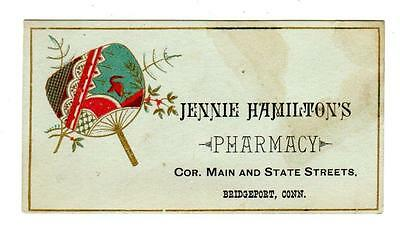 ca 1880s JENNIE HAMILTON'S PHARMACY BRIDGEPORT CT Trade Card DRUG STORE Feminist
