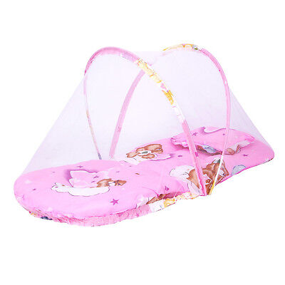 Portable Baby Infant Mosquito Net Mattress Cradle Bed with Pillow - Pink/Blue