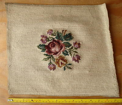 "Vintage 12""x13"" Rose Flower Floral Woven Embroidery Needlepoint Canvas Antique ?"