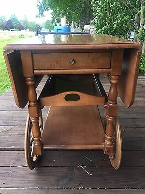 Antique/Vntg WOOD Drop Leaf TEA/Bar/Buffet CART w/Removable Wood Tray NICE!!