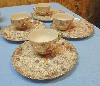 Set of 4 FRED ROBERTS CO China Round SNACK SETS Tea Coffee Cup FLORAL Gold