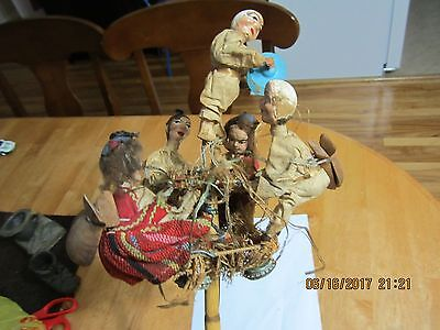Vintage/antique Folkart Mechanical Stick Puppets Musical Band