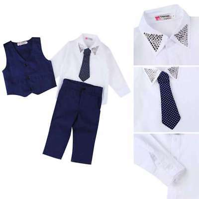Toddler Kids Baby Boys Waistcoat+Tie+Shirt+Pants Outfits Clothes 4pcs Suits Sets