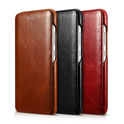 ICARER Curved Edge Vintage Genuine Leather Flip Case Cover for Huawei P10 Plus