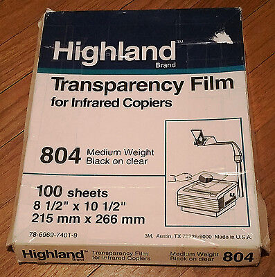 """Highland Transparency Film Infared Copiers 8.5""""x10.5"""" 100 Sheets Medium Weight"""