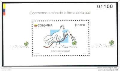 Ro) 2016 Colombia,stamp Of Peace,olive Smell-Odor-Dove,flocked Paper,fluorescent