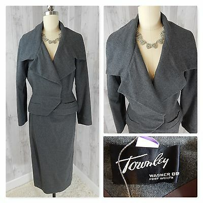 1940s True Vintage 2PC SUIT~L Gray WOOL JACKET/SKIRT NIPPED WAIST 38BUST Townley