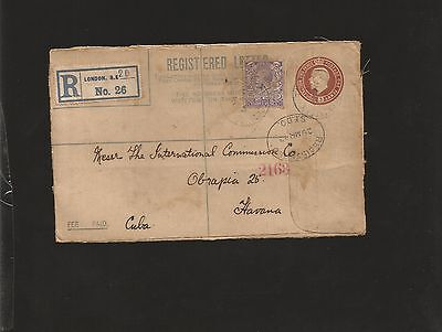 E) 1913 Great Britain, Three Pence, Postal Stationary From London To Caribe, Xf