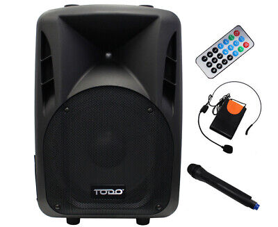"150W Portable 12"" Pa Speaker System Bluetooth Dj Usb Sd Aux W/less Mic"