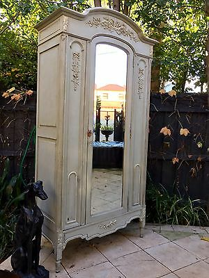 Genuine French Mirror Door Armoire / Display Cabinet with Carved Detail